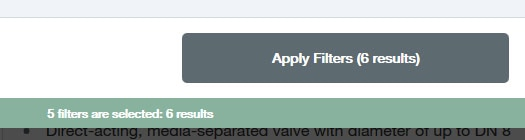 selected filters and results